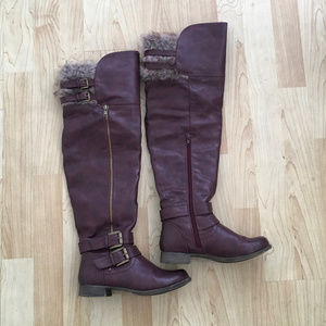Red brown over the knee Just Fab boots US Size 6